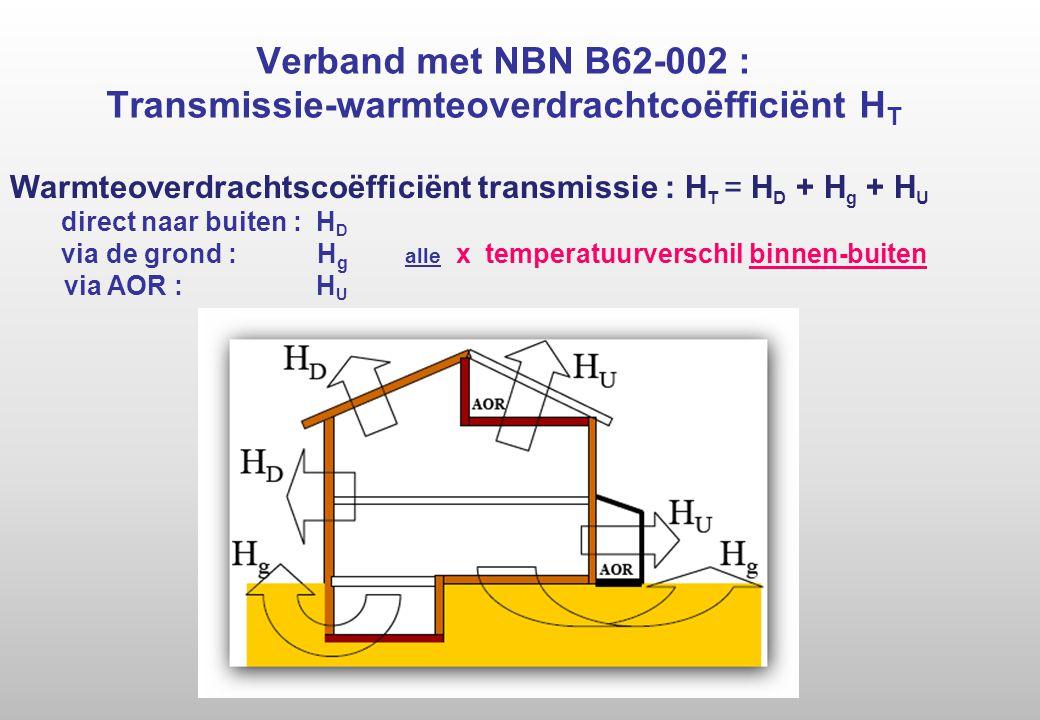 Verband met NBN B62-002 : Transmissie-warmteoverdrachtcoëfficiënt H T Warmteoverdrachtscoëfficiënt transmissie : H T = H D + H g + H U direct naar buiten : H D via de grond : H g alle x temperatuurverschil binnen-buiten via AOR : H U