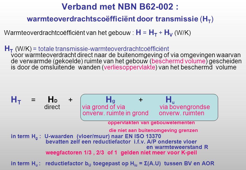 Verband met NBN B62-002 : warmteoverdrachtscoëfficiënt door transmissie (H T ) Warmteoverdrachtcoëfficiënt van het gebouw : H = H T + H V (W/K) H T (W/K) = totale transmissie-warmteoverdrachtcoëfficiënt voor warmteoverdracht direct naar de buitenomgeving of via omgevingen waarvan de verwarmde (gekoelde) ruimte van het gebouw (beschermd volume) gescheiden is door de omsluitende wanden (verliesoppervlakte) van het beschermd volume H T = H D + H g + H u direct via grond of via via bovengrondse onverw.