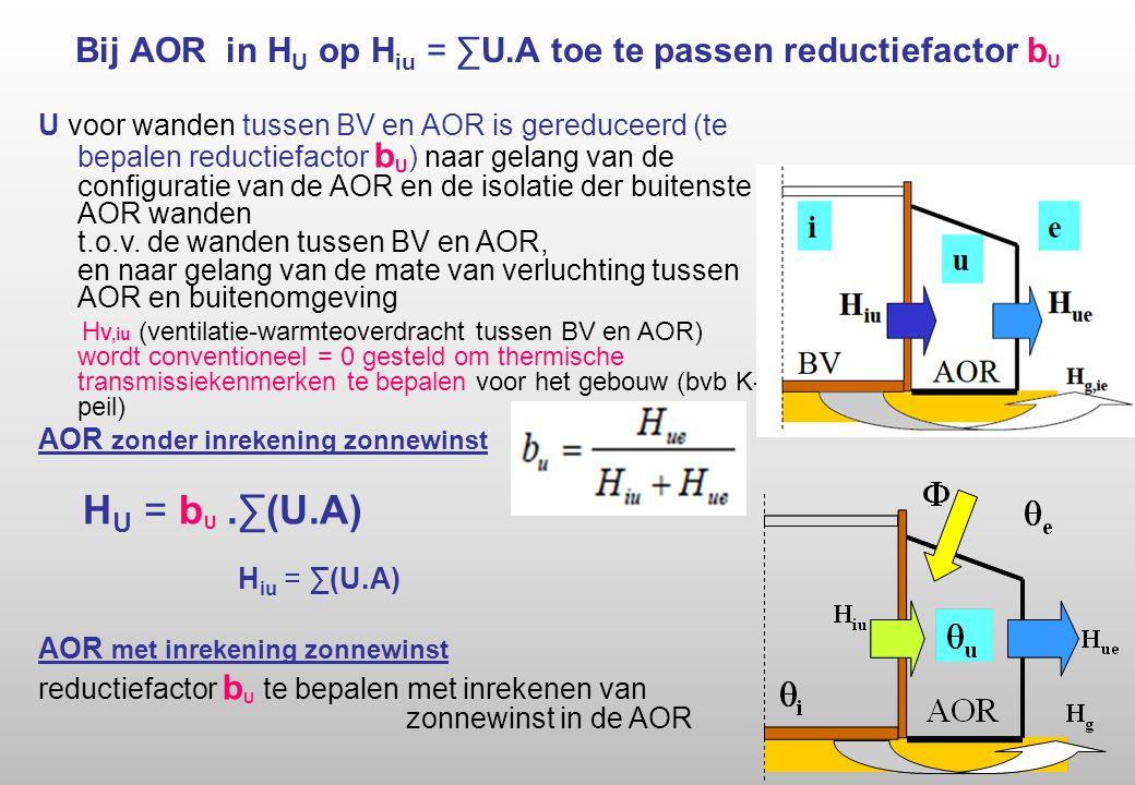 Bij AOR in H U op H iu = ∑U.A toe te passen reductiefactor b U U voor wanden tussen BV en AOR is gereduceerd (te bepalen reductiefactor b U ) naar gelang van de configuratie van de AOR en de isolatie der buitenste AOR wanden t.o.v.