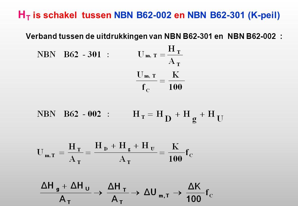 H T is schakel tussen NBN B62-002 en NBN B62-301 (K-peil) Verband tussen de uitdrukkingen van NBN B62-301 en NBN B62-002 :