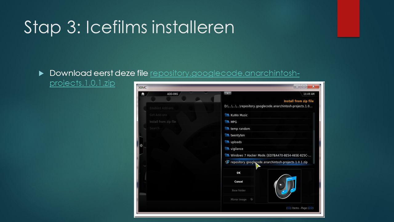 Stap 3: Icefilms installeren  Ga naar System > Settings > Add-ons.