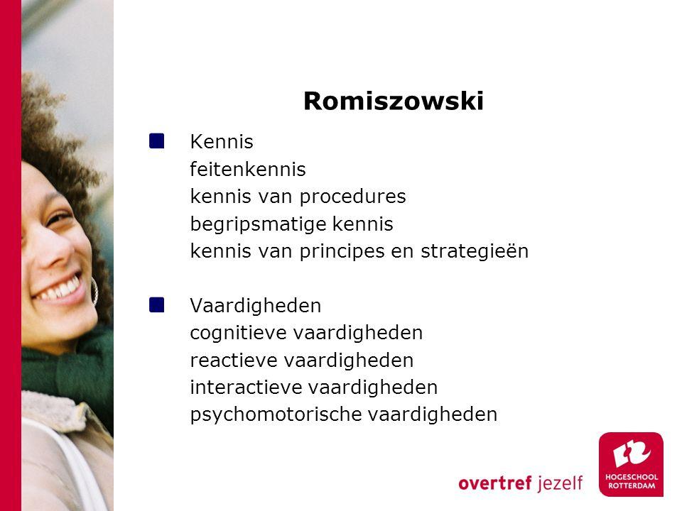 Romiszowski Kennis feitenkennis kennis van procedures begripsmatige kennis kennis van principes en strategieën Vaardigheden cognitieve vaardigheden re