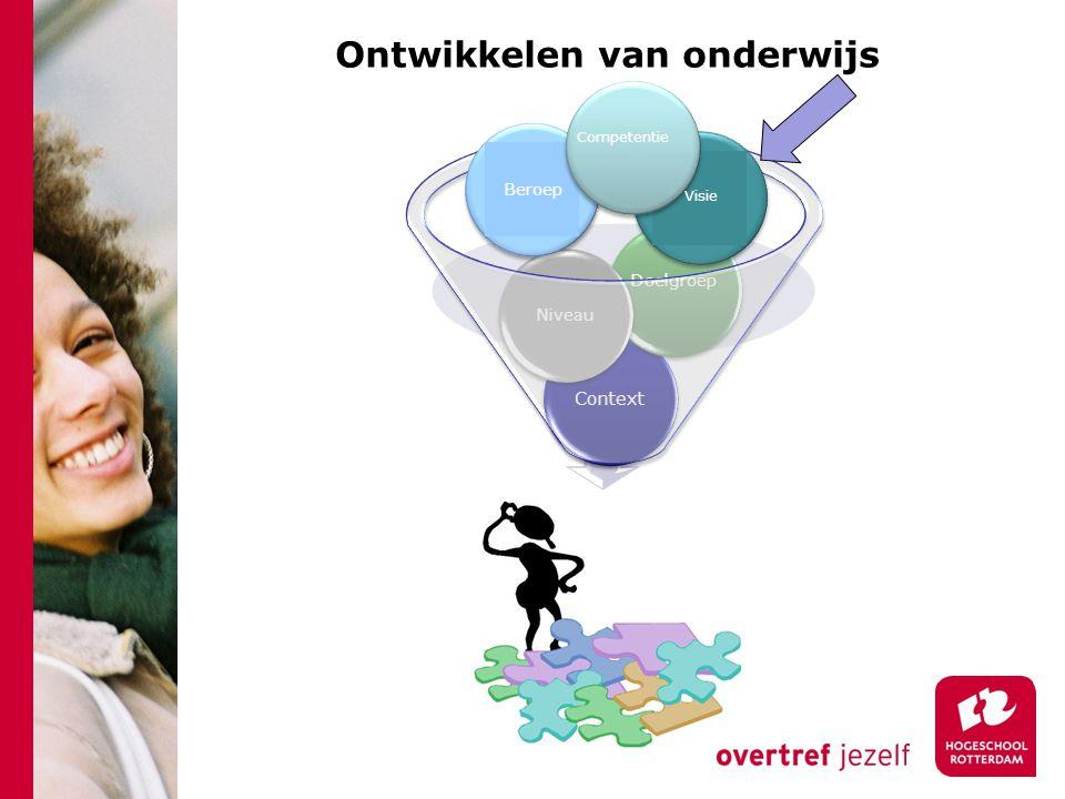 Ontwikkelen van onderwijs Onderwijsontwerp Context Doelgroep Niveau Competenties Visie Beroep Visie Competentie Visie