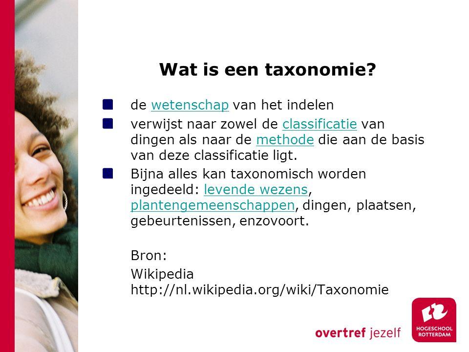 Wat is een taxonomie? de wetenschap van het indelenwetenschap verwijst naar zowel de classificatie van dingen als naar de methode die aan de basis van