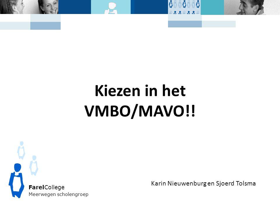 FarelCollege Meerwegen scholengroep Kiezen in het VMBO/MAVO!! Karin Nieuwenburg en Sjoerd Tolsma