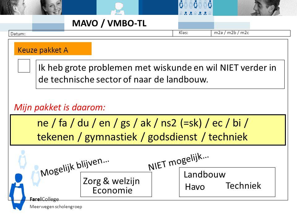 FarelCollege Meerwegen scholengroep Klas: Datum: m2a / m2b / m2c Keuze pakket A Ik heb grote problemen met wiskunde en wil NIET verder in de technisch