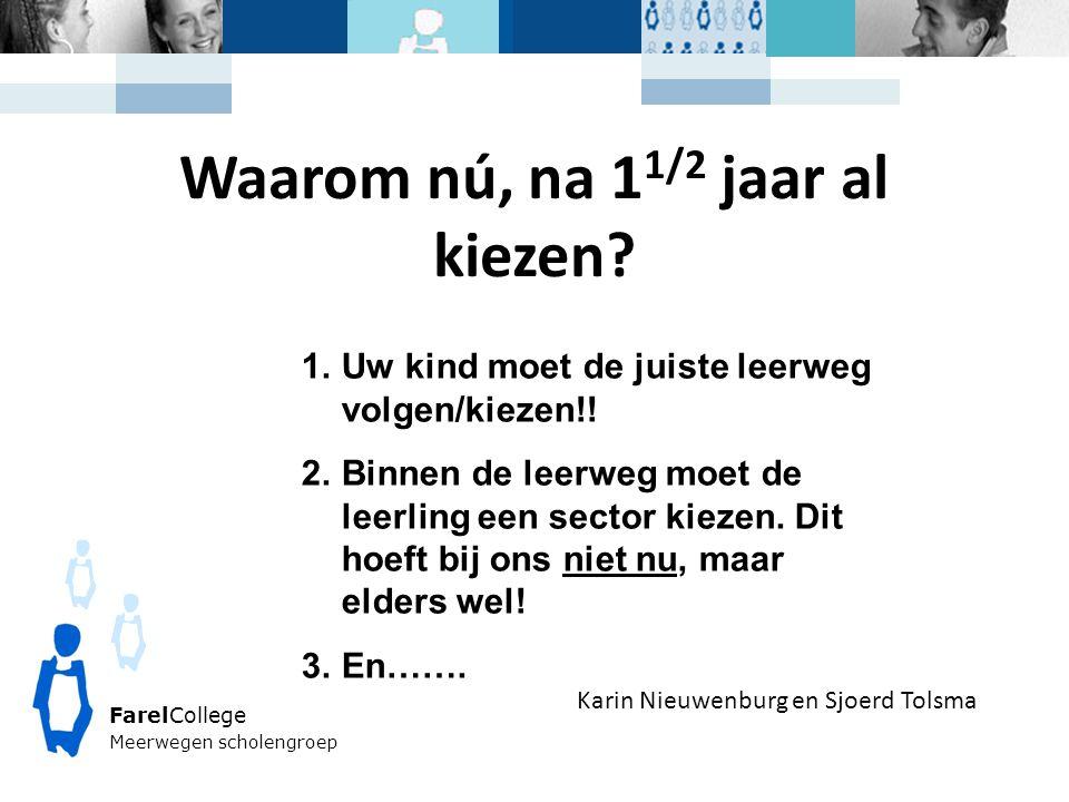 FarelCollege Meerwegen scholengroep Karin Nieuwenburg en Sjoerd Tolsma Waarom nú, na 1 1/2 jaar al kiezen? 1.Uw kind moet de juiste leerweg volgen/kie