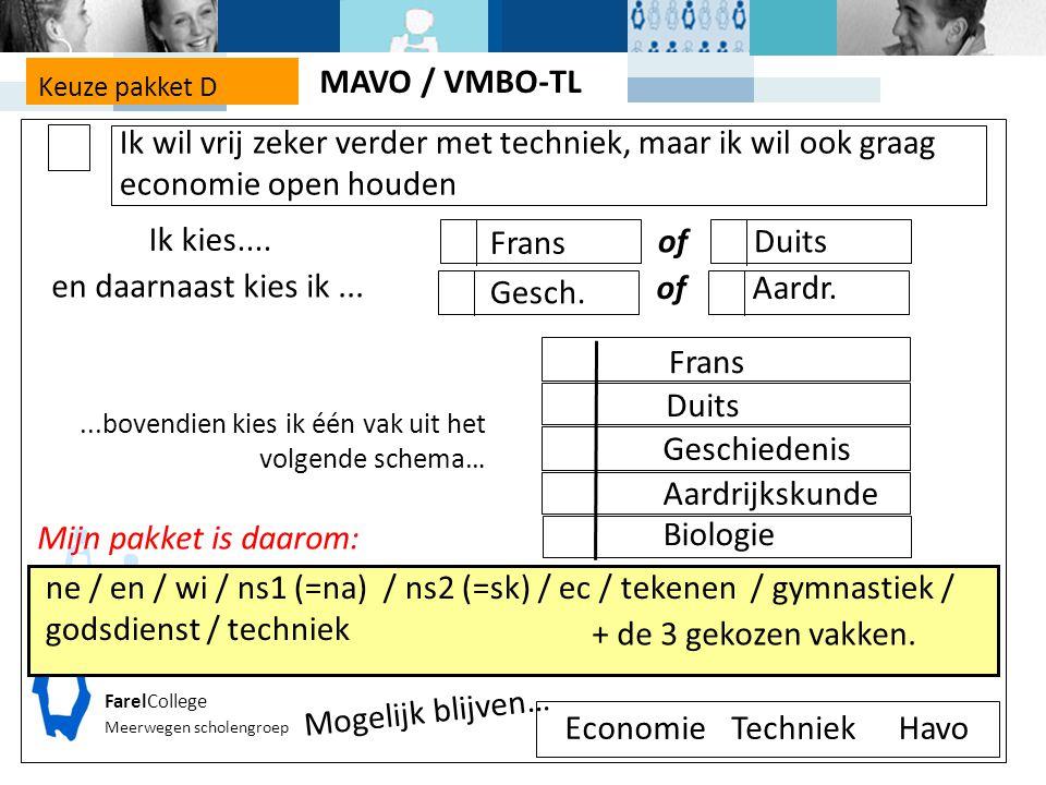 FarelCollege Meerwegen scholengroep Keuze pakket D Mijn pakket is daarom: ne / en / wi / ns1 (=na) / ns2 (=sk) / ec / tekenen / gymnastiek / godsdienst / techniek Economie Mogelijk blijven… TechniekHavo + de 3 gekozen vakken.