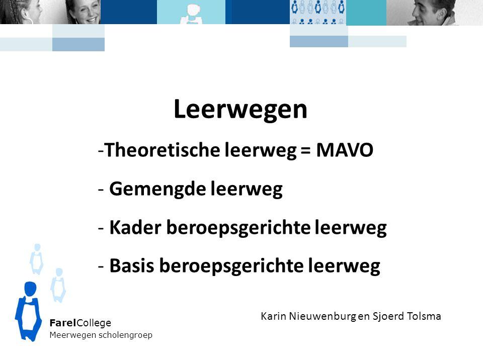 FarelCollege Meerwegen scholengroep Karin Nieuwenburg en Sjoerd Tolsma Leerwegen -Theoretische leerweg = MAVO - Gemengde leerweg - Kader beroepsgerichte leerweg - Basis beroepsgerichte leerweg