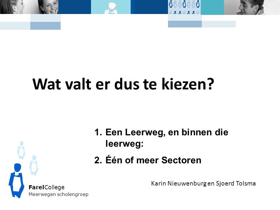 FarelCollege Meerwegen scholengroep Karin Nieuwenburg en Sjoerd Tolsma Wat valt er dus te kiezen? 1.Een Leerweg, en binnen die leerweg: 2.Één of meer