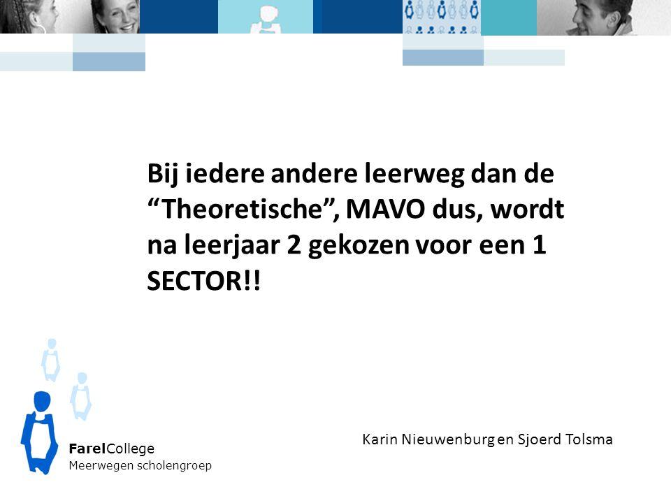 FarelCollege Meerwegen scholengroep Karin Nieuwenburg en Sjoerd Tolsma Bij iedere andere leerweg dan de Theoretische , MAVO dus, wordt na leerjaar 2 gekozen voor een 1 SECTOR!!