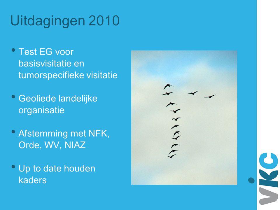 Uitdagingen 2010 • Test EG voor basisvisitatie en tumorspecifieke visitatie • Geoliede landelijke organisatie • Afstemming met NFK, Orde, WV, NIAZ • U