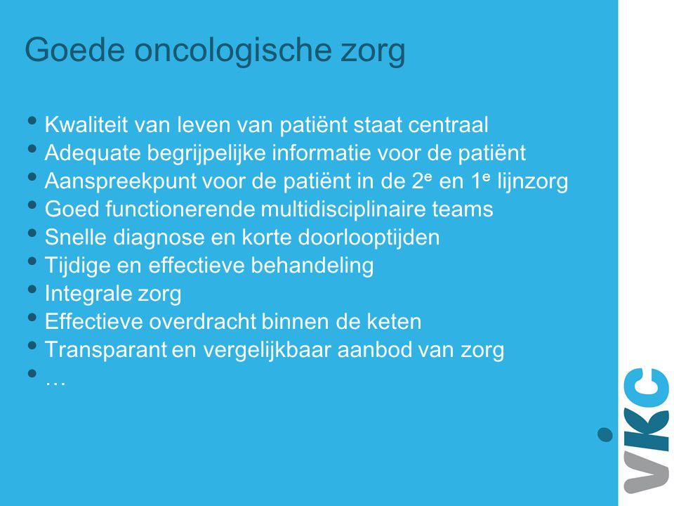 Goede oncologische zorg • Kwaliteit van leven van patiënt staat centraal • Adequate begrijpelijke informatie voor de patiënt • Aanspreekpunt voor de p