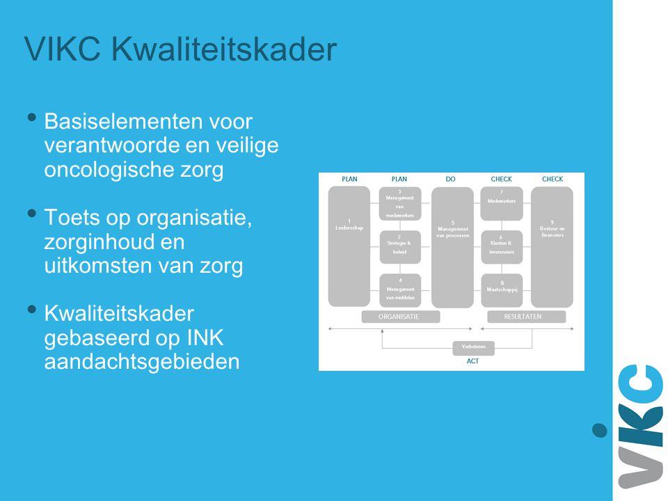 VIKC Kwaliteitskader • Basiselementen voor verantwoorde en veilige oncologische zorg • Toets op organisatie, zorginhoud en uitkomsten van zorg • Kwali