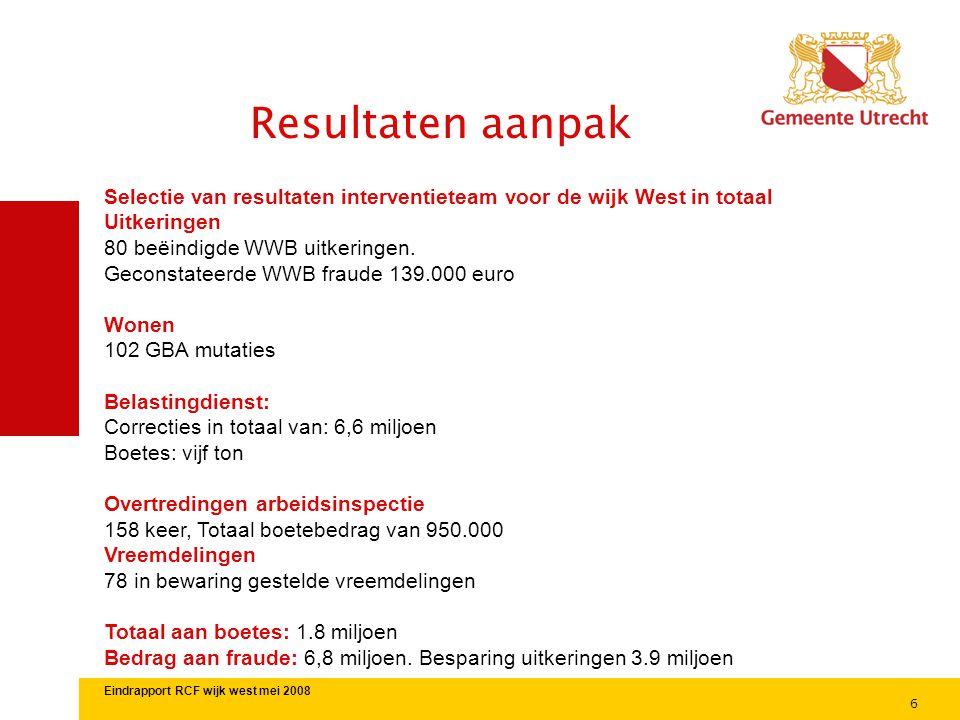 6 Resultaten aanpak Selectie van resultaten interventieteam voor de wijk West in totaal Uitkeringen 80 beëindigde WWB uitkeringen. Geconstateerde WWB