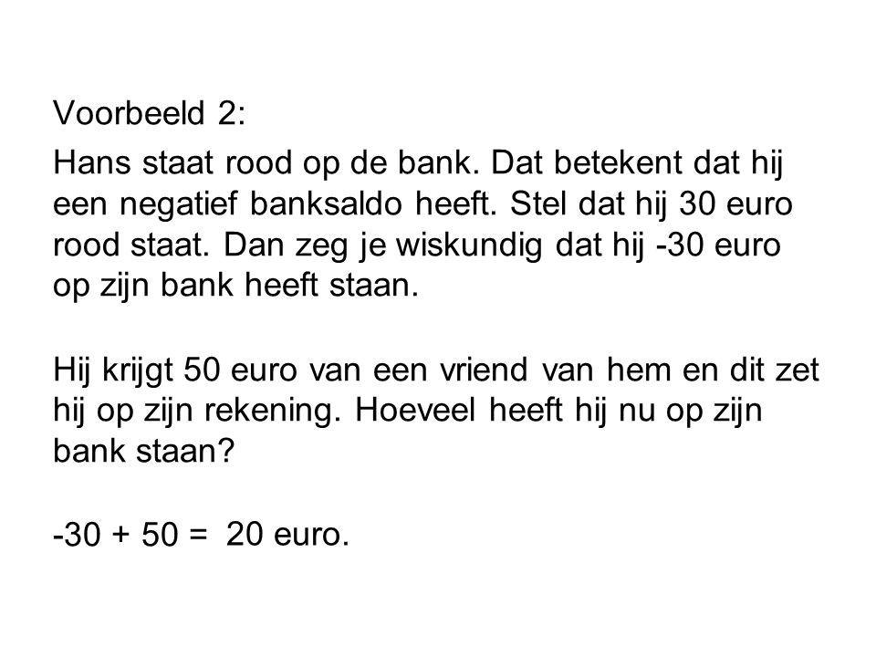 Voorbeeld 2: Hans staat rood op de bank.Dat betekent dat hij een negatief banksaldo heeft.