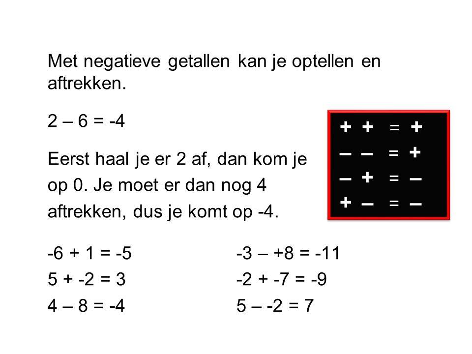 Met negatieve getallen kan je optellen en aftrekken.