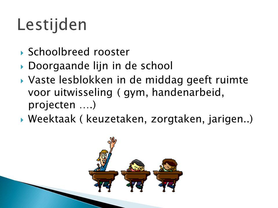 Schoolbreed rooster  Doorgaande lijn in de school  Vaste lesblokken in de middag geeft ruimte voor uitwisseling ( gym, handenarbeid, projecten ….)