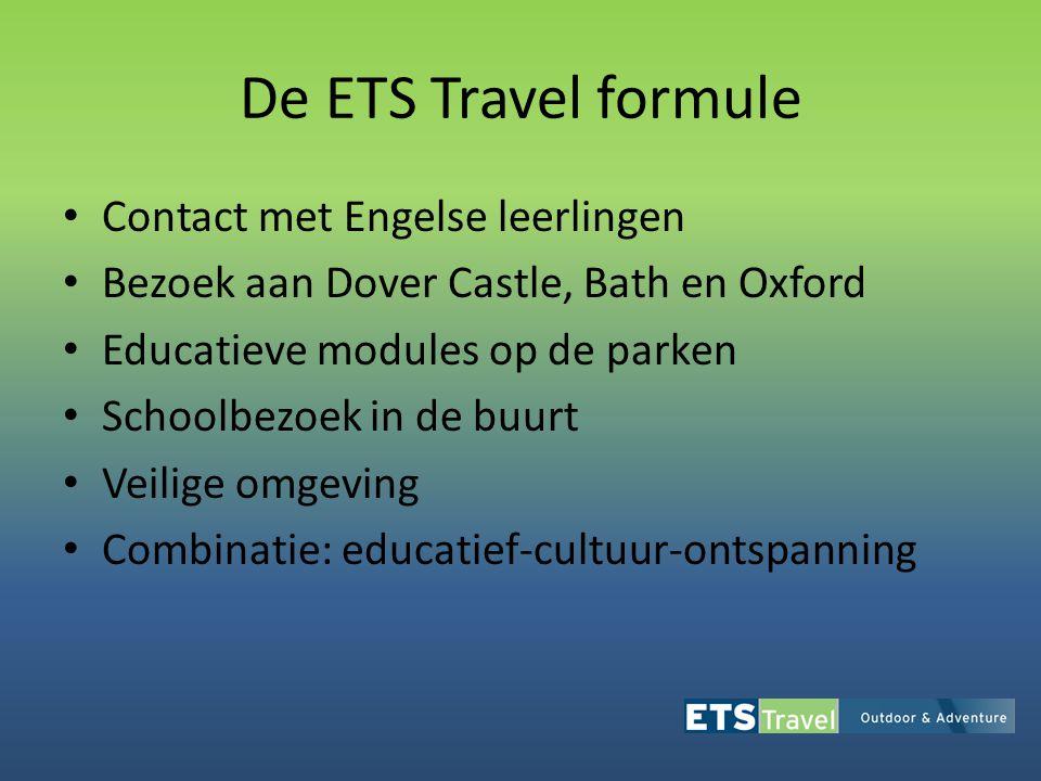 De ETS Travel formule • Contact met Engelse leerlingen • Bezoek aan Dover Castle, Bath en Oxford • Educatieve modules op de parken • Schoolbezoek in d