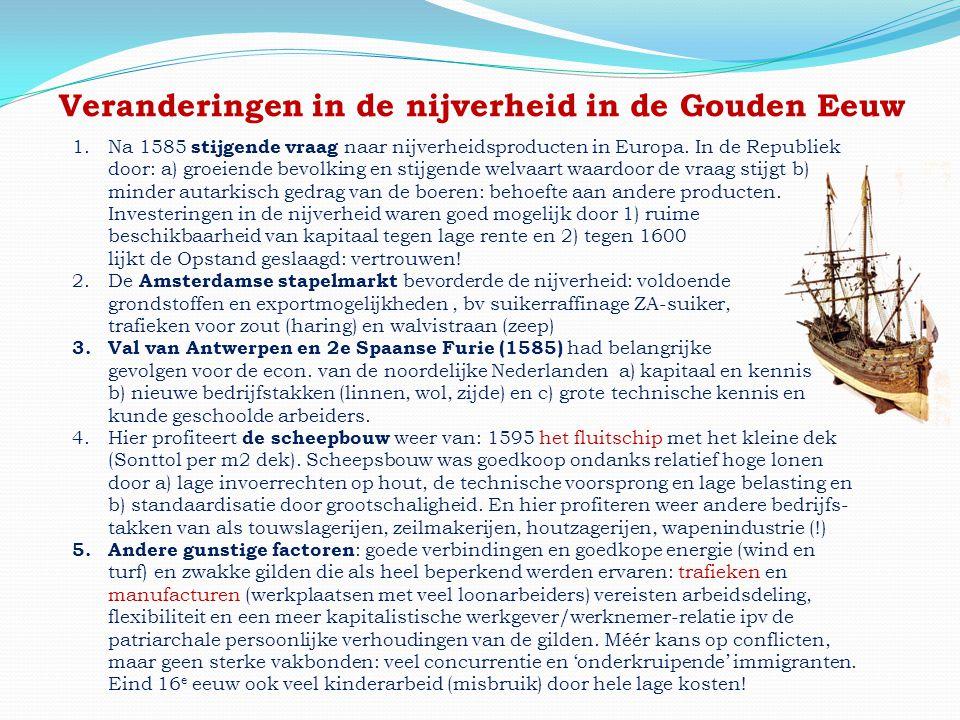 Veranderingen in de nijverheid in de Gouden Eeuw 1.Na 1585 stijgende vraag naar nijverheidsproducten in Europa. In de Republiek door: a) groeiende bev