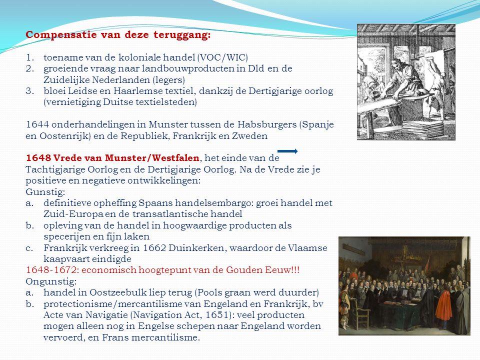 Compensatie van deze teruggang: 1.toename van de koloniale handel (VOC/WIC) 2.groeiende vraag naar landbouwproducten in Dld en de Zuidelijke Nederland