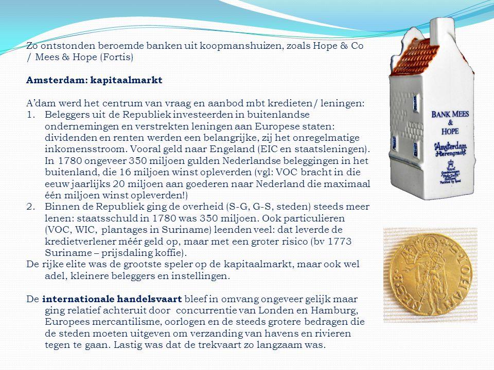Zo ontstonden beroemde banken uit koopmanshuizen, zoals Hope & Co / Mees & Hope (Fortis) Amsterdam: kapitaalmarkt A'dam werd het centrum van vraag en