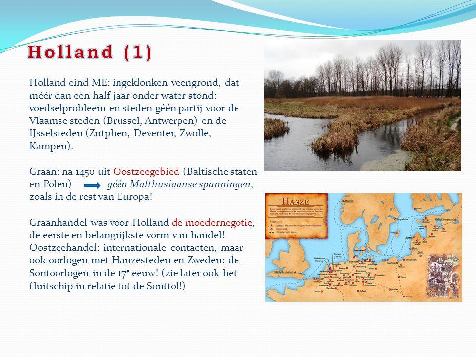 Holland eind ME: ingeklonken veengrond, dat méér dan een half jaar onder water stond: voedselprobleem en steden géén partij voor de Vlaamse steden (Br