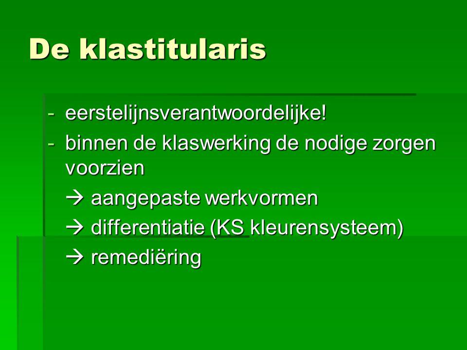 De klastitularis -eerstelijnsverantwoordelijke.