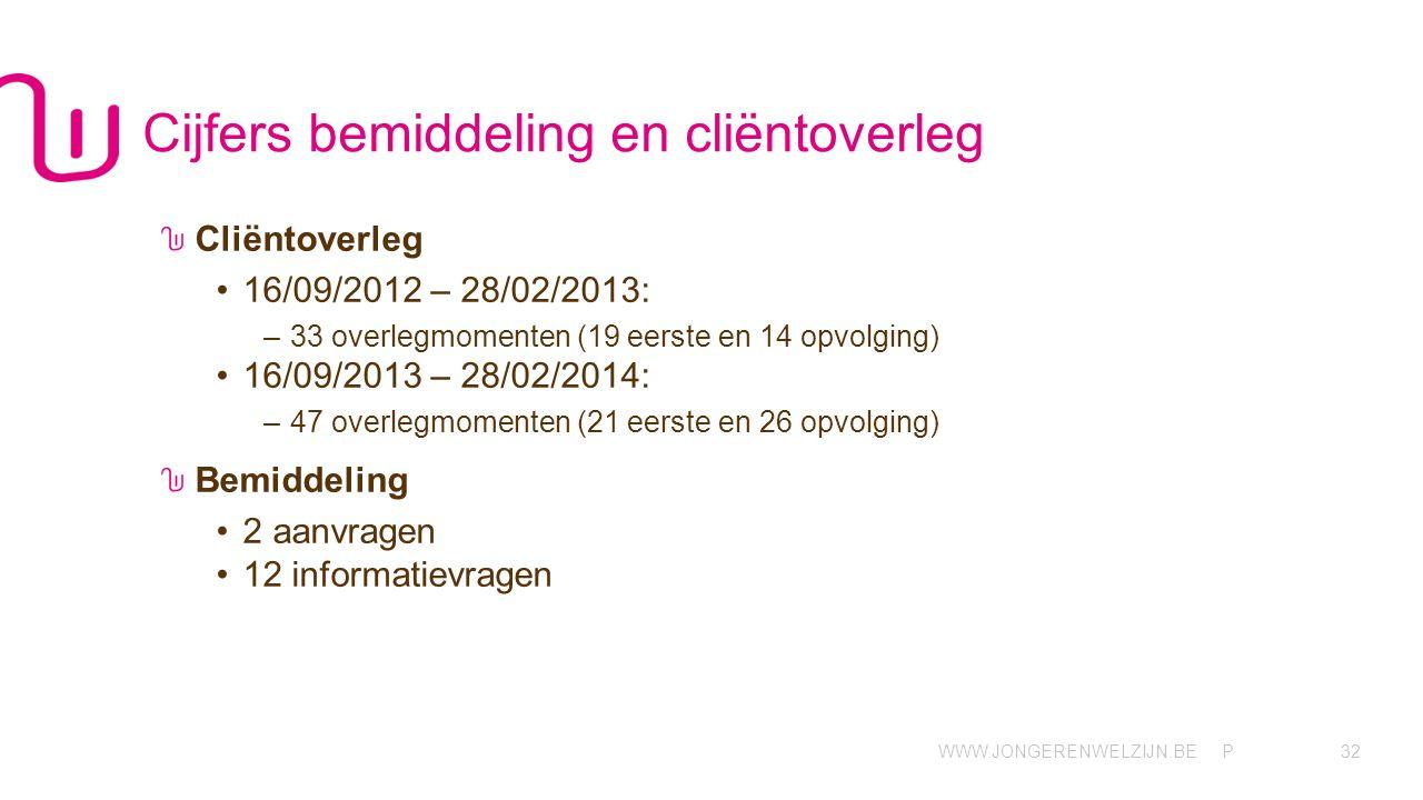 WWW.JONGERENWELZIJN.BE P Cijfers bemiddeling en cliëntoverleg Cliëntoverleg •16/09/2012 – 28/02/2013: –33 overlegmomenten (19 eerste en 14 opvolging) •16/09/2013 – 28/02/2014: –47 overlegmomenten (21 eerste en 26 opvolging) Bemiddeling •2 aanvragen •12 informatievragen 32