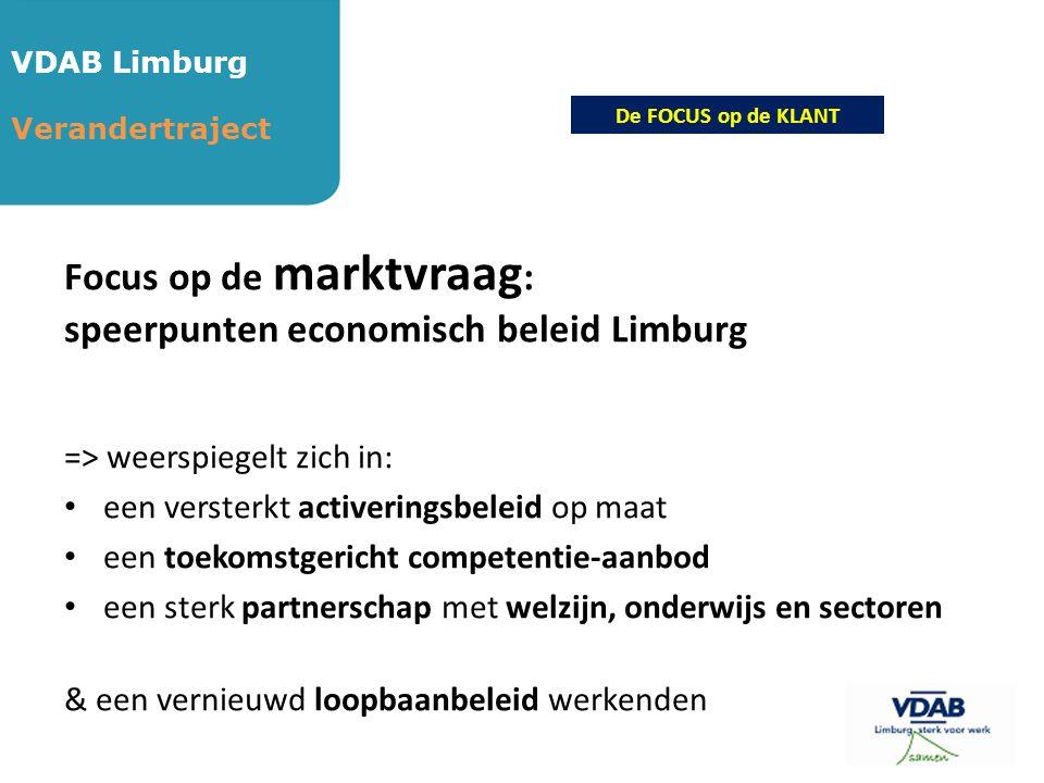 VDAB Limburg Verandertraject Focus op de marktvraag : speerpunten economisch beleid Limburg => weerspiegelt zich in: • een versterkt activeringsbeleid