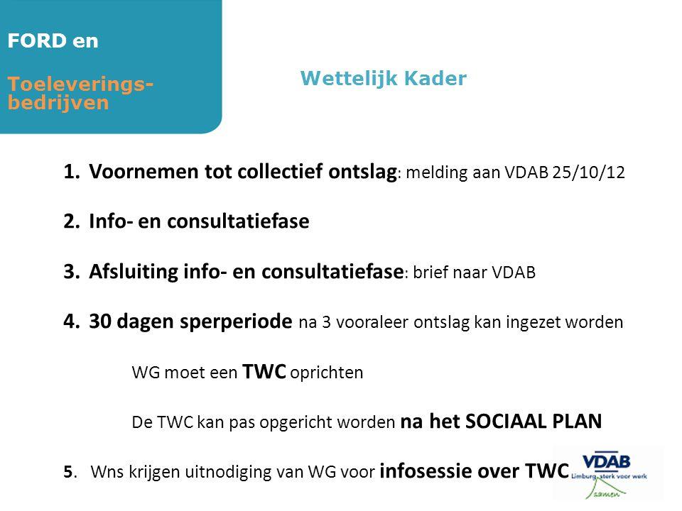 FORD en Toeleverings- bedrijven Wettelijk Kader 1.Voornemen tot collectief ontslag : melding aan VDAB 25/10/12 2.Info- en consultatiefase 3.Afsluiting