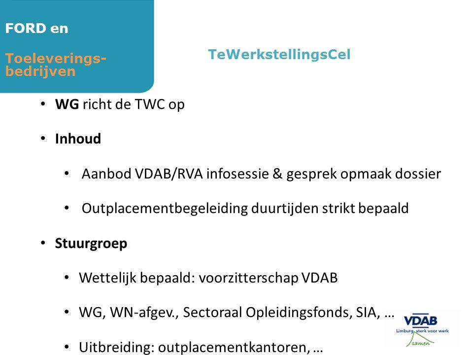 FORD en Toeleverings- bedrijven TeWerkstellingsCel • WG richt de TWC op • Inhoud • Aanbod VDAB/RVA infosessie & gesprek opmaak dossier • Outplacementb
