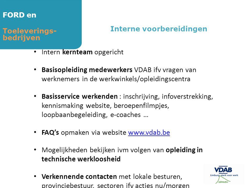 FORD en Toeleverings- bedrijven Interne voorbereidingen • Intern kernteam opgericht • Basisopleiding medewerkers VDAB ifv vragen van werknemers in de