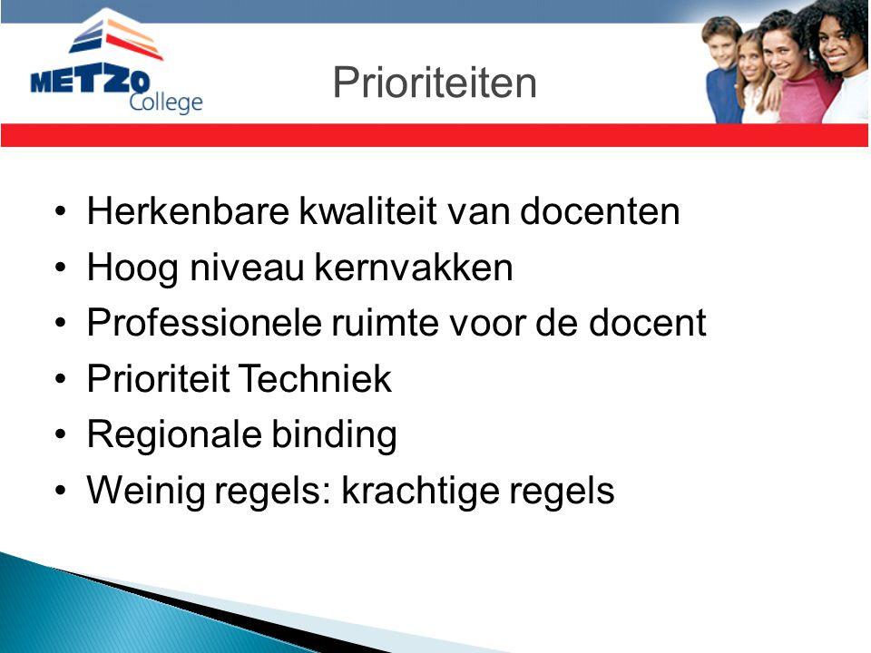 Prioriteiten •Herkenbare kwaliteit van docenten •Hoog niveau kernvakken •Professionele ruimte voor de docent •Prioriteit Techniek •Regionale binding •