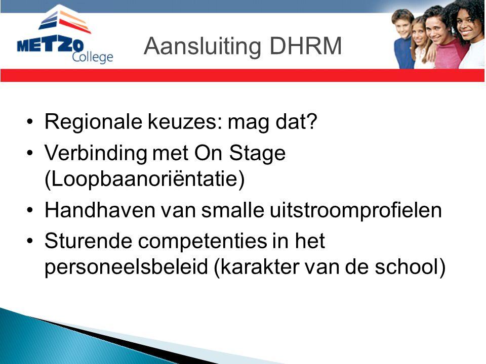 Aansluiting DHRM •Regionale keuzes: mag dat? •Verbinding met On Stage (Loopbaanoriëntatie) •Handhaven van smalle uitstroomprofielen •Sturende competen