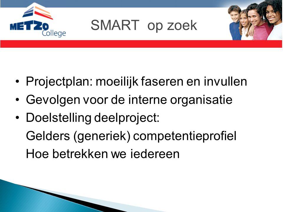SMART op zoek •Projectplan: moeilijk faseren en invullen •Gevolgen voor de interne organisatie •Doelstelling deelproject: Gelders (generiek) competent