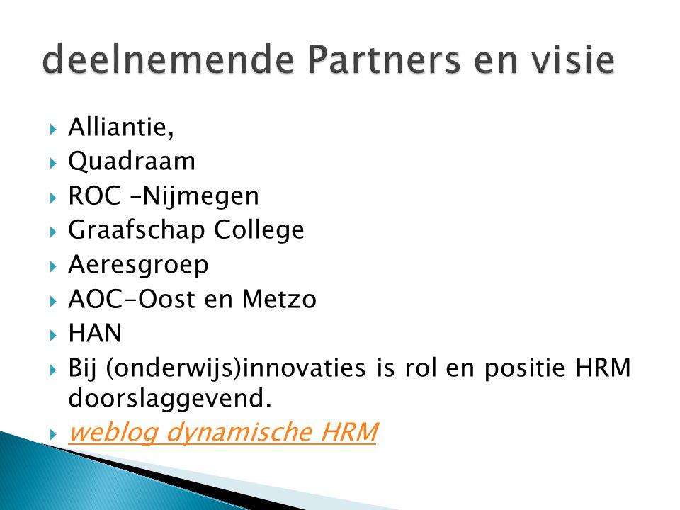  Alliantie,  Quadraam  ROC –Nijmegen  Graafschap College  Aeresgroep  AOC-Oost en Metzo  HAN  Bij (onderwijs)innovaties is rol en positie HRM