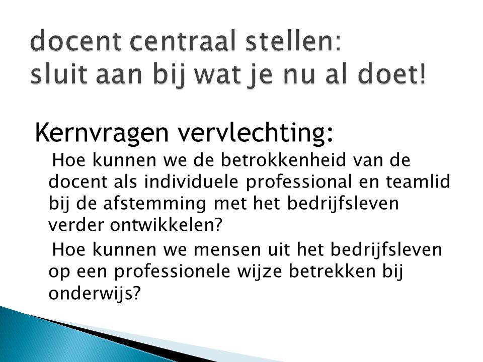 Kernvragen vervlechting: Hoe kunnen we de betrokkenheid van de docent als individuele professional en teamlid bij de afstemming met het bedrijfsleven