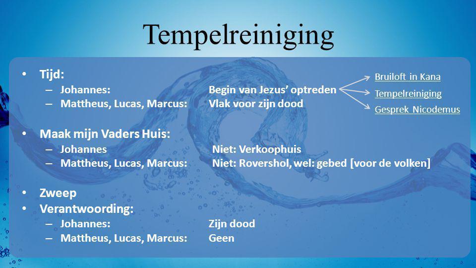 Tempelreiniging • Tijd: – Johannes:Begin van Jezus' optreden – Mattheus, Lucas, Marcus:Vlak voor zijn dood • Maak mijn Vaders Huis: – JohannesNiet: Ve