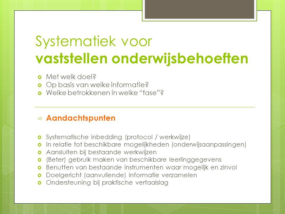 Systematiek voor vaststellen onderwijsbehoeften  Met welk doel.
