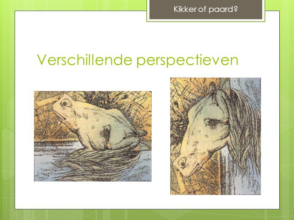 Verschillende perspectieven Kikker of paard?