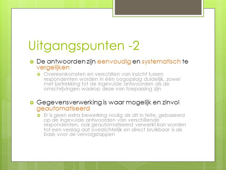 Uitgangspunten -2  De antwoorden zijn eenvoudig en systematisch te vergelijken  Overeenkomsten en verschillen van inzicht tussen respondenten worden