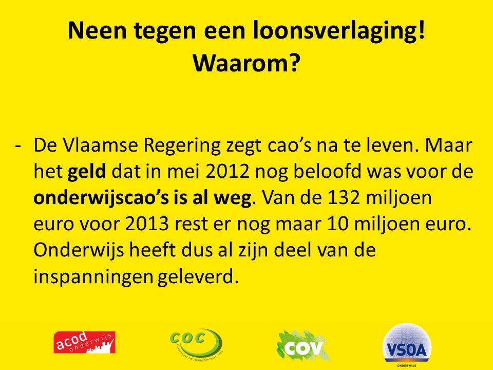 Neen tegen een loonsverlaging! Waarom? -De Vlaamse Regering zegt cao's na te leven. Maar het geld dat in mei 2012 nog beloofd was voor de onderwijscao