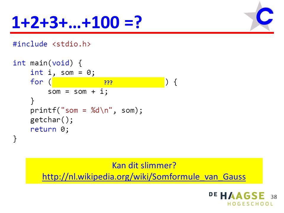 #include int main(void) { int getal; do { printf( Geef een positief getal: ); scanf( %d , &getal); } while (getal <= 0); printf( Het ingevoerde getal = %d\n , getal); fflush(stdin); getchar(); return 0; } 39 do while  Gebruik een do while als het aantal herhalingen bij het programmeren onbekend en ≥1 is.