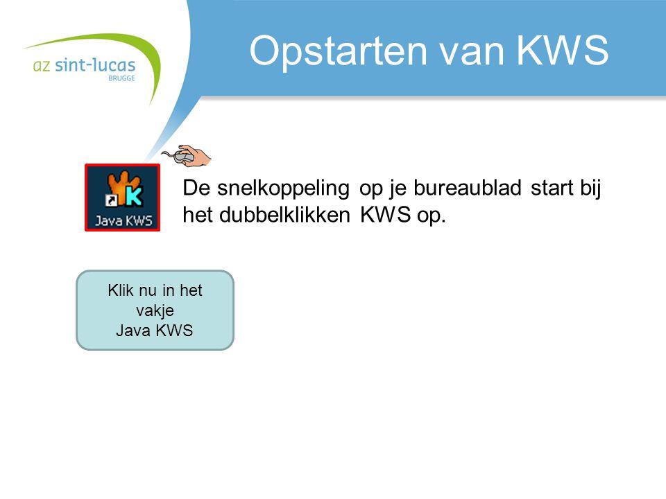 KWS start op Het opstarten kan een tijdje duren.