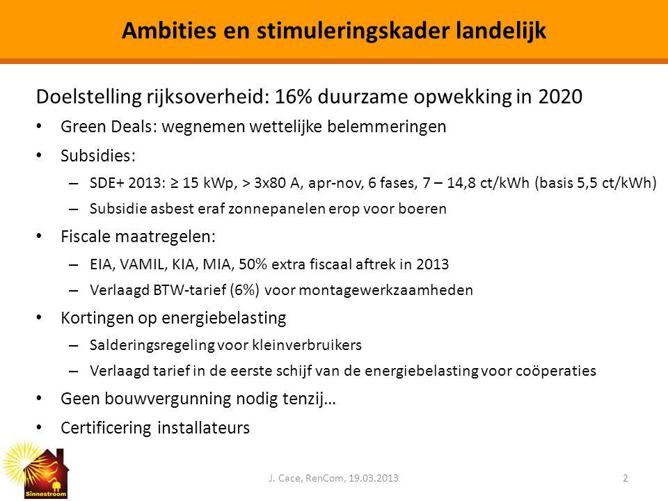 Ambities en stimuleringskader landelijk Doelstelling rijksoverheid: 16% duurzame opwekking in 2020 • Green Deals: wegnemen wettelijke belemmeringen •