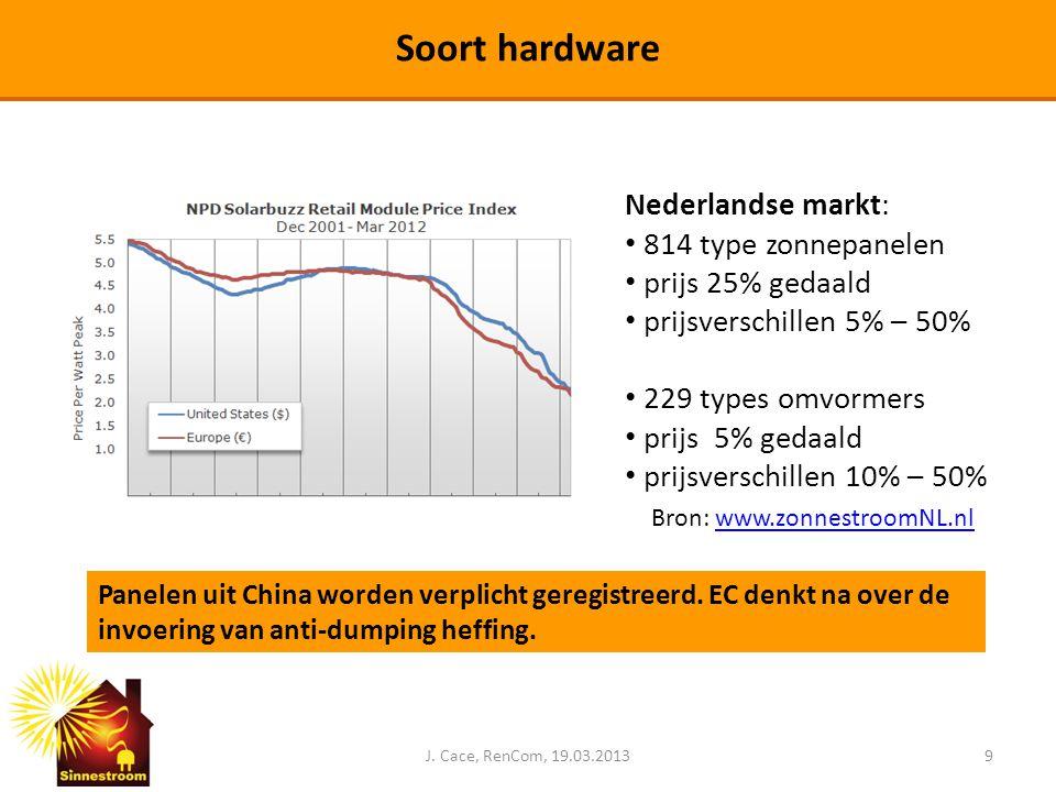 J. Cace, RenCom, 19.03.20139 Soort hardware Nederlandse markt: • 814 type zonnepanelen • prijs 25% gedaald • prijsverschillen 5% – 50% • 229 types omv