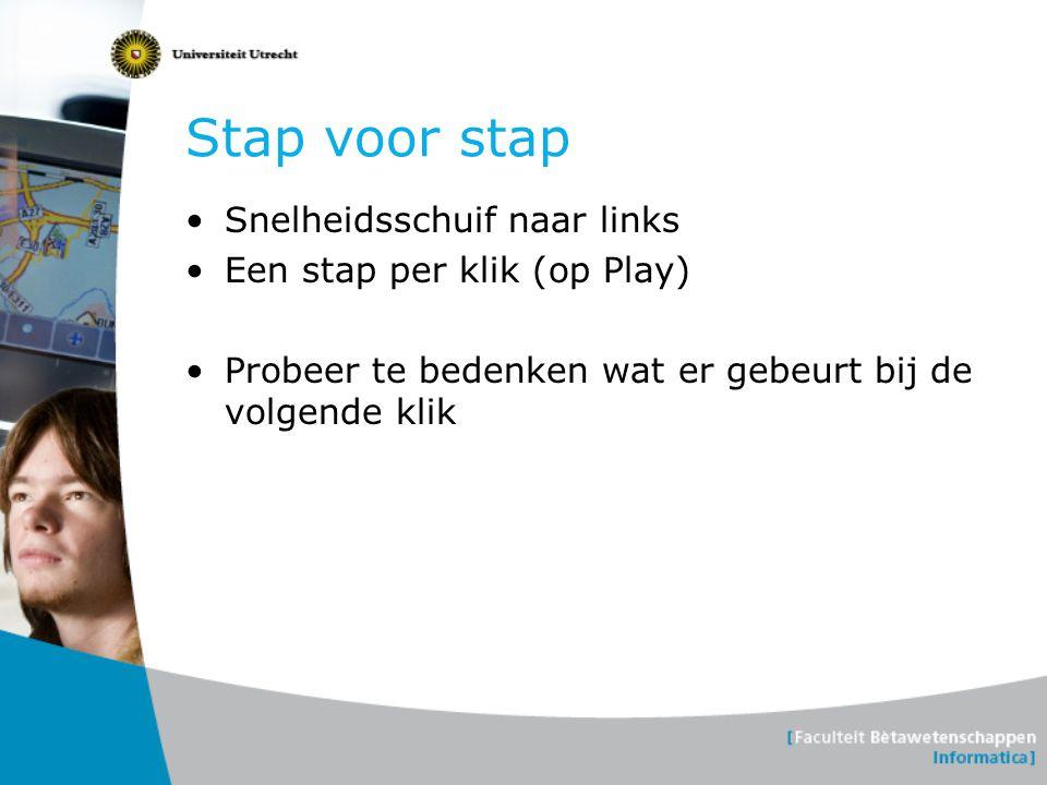 Stap voor stap •Snelheidsschuif naar links •Een stap per klik (op Play) •Probeer te bedenken wat er gebeurt bij de volgende klik
