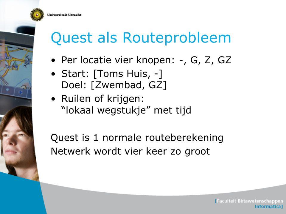 """Quest als Routeprobleem •Per locatie vier knopen: -, G, Z, GZ •Start: [Toms Huis, -] Doel: [Zwembad, GZ] •Ruilen of krijgen: """"lokaal wegstukje"""" met ti"""