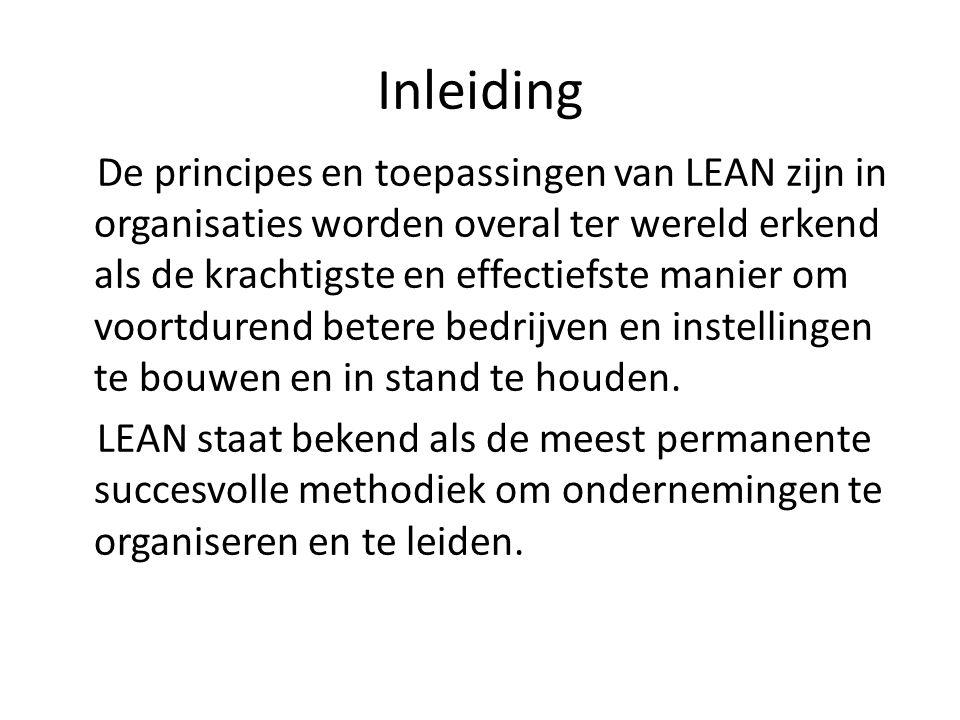 Inleiding De principes en toepassingen van LEAN zijn in organisaties worden overal ter wereld erkend als de krachtigste en effectiefste manier om voor